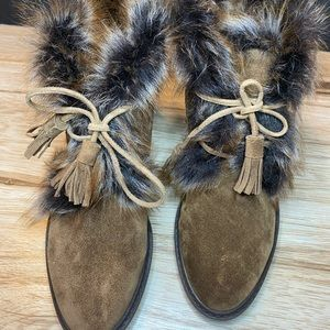 Stuart Weitzman Suede with Fur Trim Lace Boots;NEW